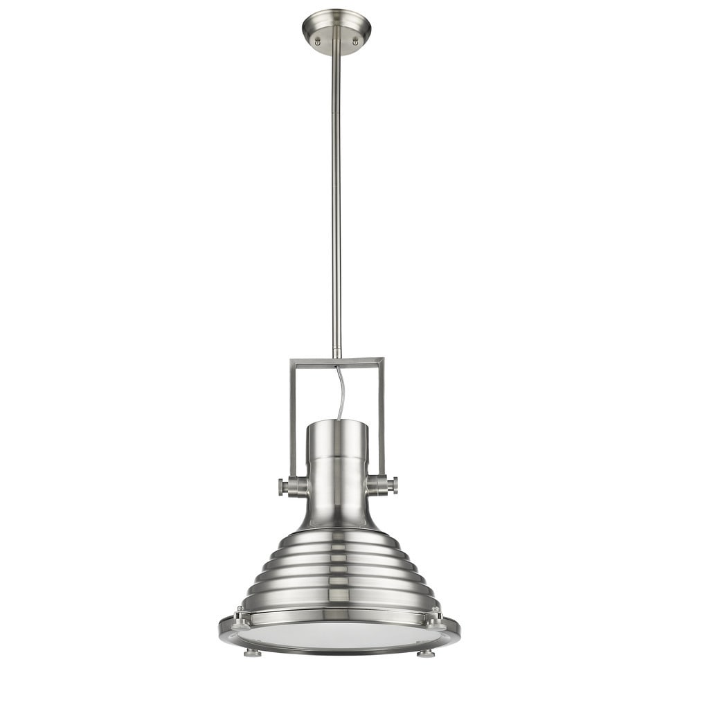 Chloe Loft/ Industrial 1-light Brushed Nickel Pendant (Gl...