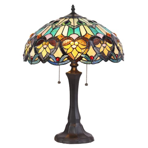 Tiffany Style Victorian Design 2-light Bronze Table Lamp