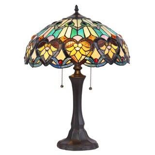 Chloe Lighting Tiffany Style Victorian Design 2-light Bronze Table Lamp
