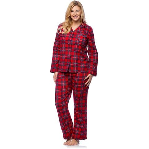 White Mark Women's Plus Size Red Plaid Flannel Slim-Fit Pajama Set