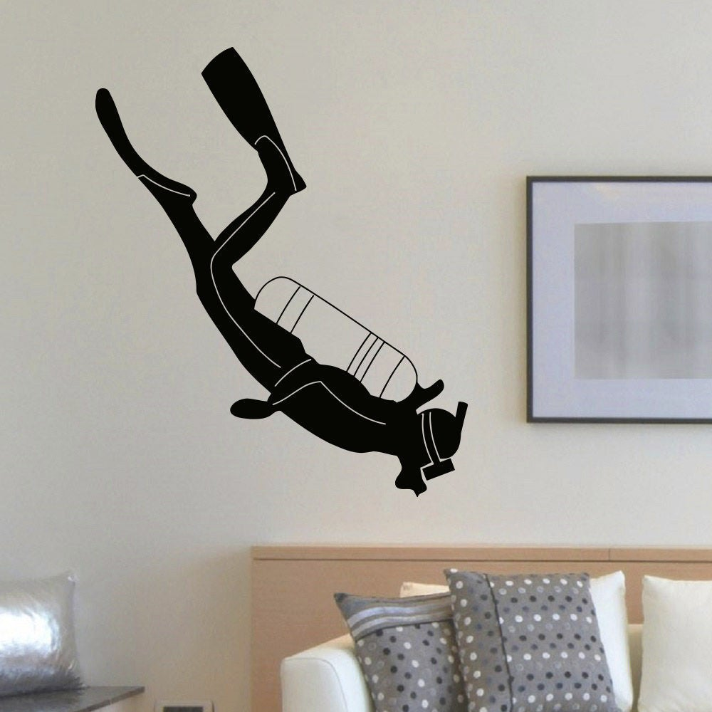 Scuba Diver Wall Art Decal Sticker (22 inches x 35 inches...
