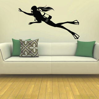 Girl Scuba Diver Vinyl Wall Art Decal Sticker