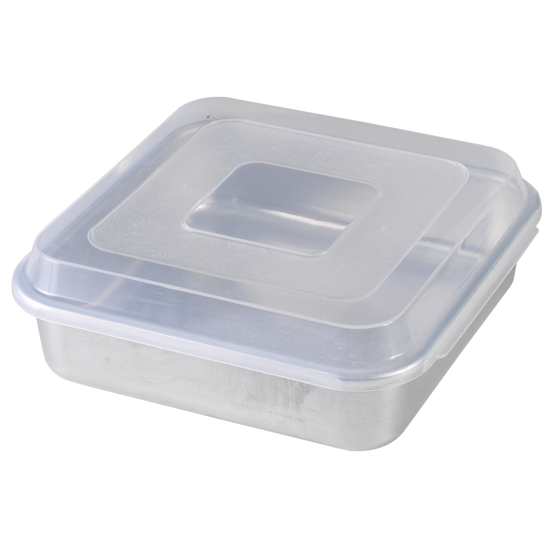 """Nordic Ware Square Cake Pan 9""""x9"""" with Lid, Silver aluminum"""