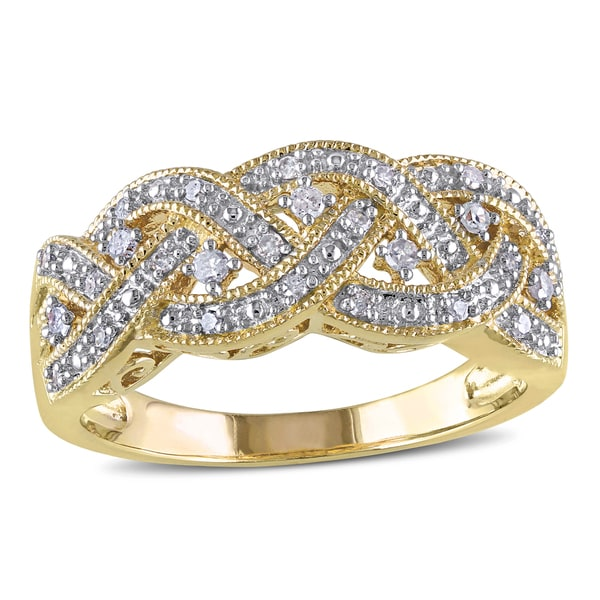 Miadora Yellow Plated Sterling Silver 1/8ct TDW Diamond Braided Ring