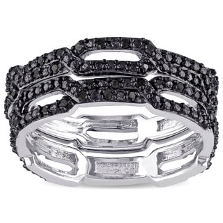 Miadora Sterling Silver 1/6ct TDW Black Diamond Crossover Eternity Anniversary Ring Set