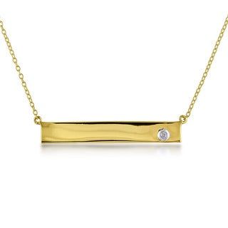 Miadora Yellow Silver Diamond Accent Bar Necklace
