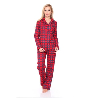 White Mark Women's Slim-Fit Red Plaid Flannel Pajama Set