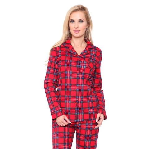 White Mark Women's Slim-Fit Red Plaid Flannel Pajama Set