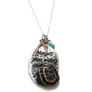 Mama Designs Handmade Turquoise Horseshoe Copper Blessed Necklace