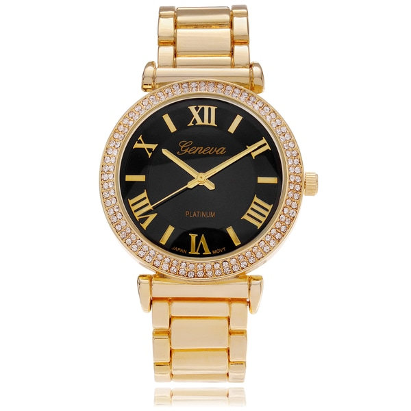 Geneva Platinum Women's Rhinestone Bezel Roman Numeral Link Watch
