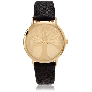 Geneva Platinum Women's Tree Dial Leather Strap Watch