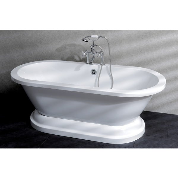 Contemporary Double Ended Acrylic 67-inch Pedestal Bathtub with 7-in faucet drillings