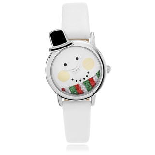 Geneva Platinum Women's Snowman Face Dial Leather Strap Watch
