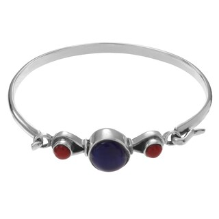 Journee Collection Sterling Silver Lapis Carnelian Stone Accent Bangle