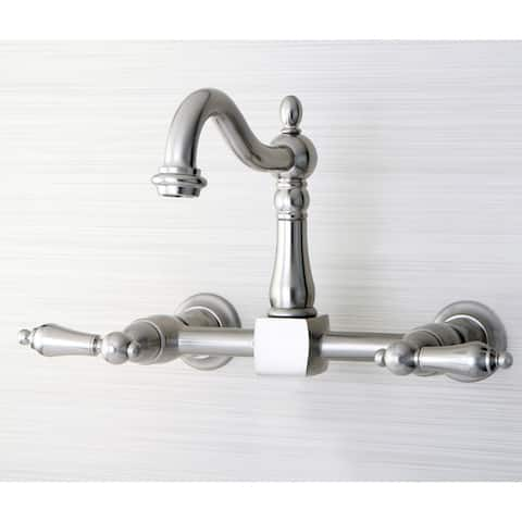 Victorian Wallmount Satin NIckel Kitchen Faucet