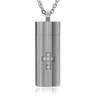 Territory Men's Stainless Steel Cubic Zirconia Accent Cross Chamber Pendant