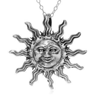 Journee Collection Sterling Silver Sun Face with Rays Pendant