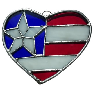 Stained Glass Patriotic Heart Star USA Flag Stained Glass Suncatcher