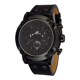 Adee Kaye AK7280-MIPB/BK Men's Sports Leather Strap Chronograph Watch