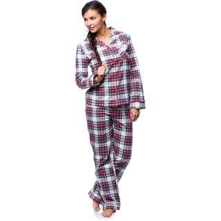 White Mark Women's Slim-Fit Plaid Flannel Pajama Set