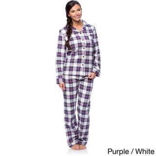 White Mark Women's Slim-Fit Plaid Flannel Pajama Set