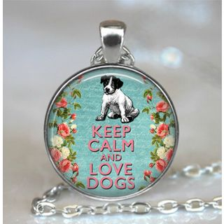 Atkinson Creations Keep Calm and Love Dogs Blue Glass Dome Necklace