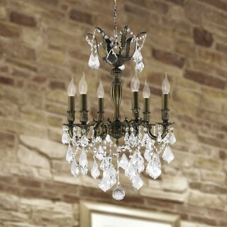 "French Imperial Collection 6 light Antique Bronze Finish and Clear Crystal Chandelier 19"" x 25"""