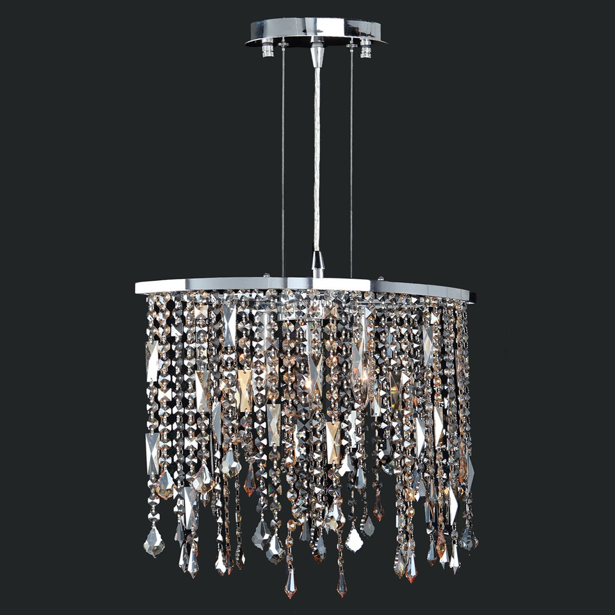 Contemporary 3 Light Chrome (Grey) Finish and Faceted Mul...