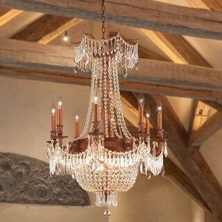 "Regal Estate Collection 12 Light Antique Bronze Finish and Golden Teak Crystal Chandelier 24"" x 31"""