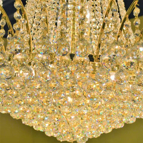 French Empire 11 Light Gold Finish Crystal Chandelier Large 24 in D x 24 in H
