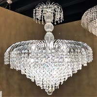 "French Empire Collection 14 Light Chrome Finish and Clear Crystal Chandelier 30"" x 32"""