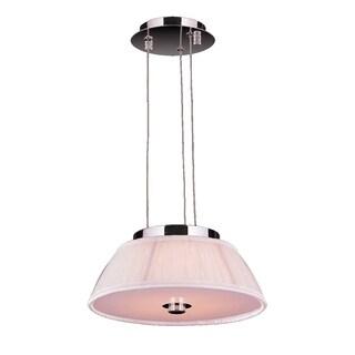 Euro Italian Style 5-light LED Chrome Finish with 12-inch White Pendant Shade
