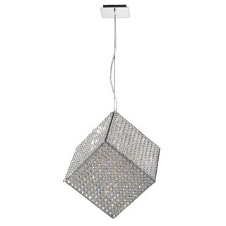 Modern Geometric Cube Collection 13-light Chrome Finish and 18-inch Clear Crystal Halogen Pendant