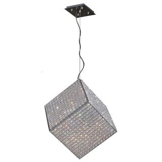 Modern Geometric Collection 13-light Halogen Chrome Finish and 15-inch Clear Crystal Cube Pendant
