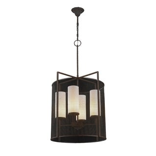 Modern Industrial 4 Light Flemish Brass Finish Lattice Shade and Faux Alabaster Pillar Candle Pendant 25""