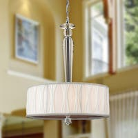 """Contemporary 4 Light Chrome Finish and Clear Crystal Pendant with White Fabric Drum Shade 16"""""""