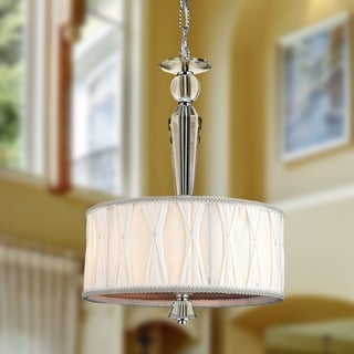 """Contemporary 3 Light Chrome Finish and Clear Crystal Pendant with White Fabric Drum Shade 12"""""""