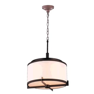 Contemporary 5-light LED Dark Bronze Finish with 12-inch Bisque Linen Drum Shade Chandelier