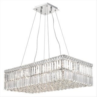 "Modern Art Deco Style 16 Light Chrome Finish Clear Crystal Rectangle Chandelier 28"" L"