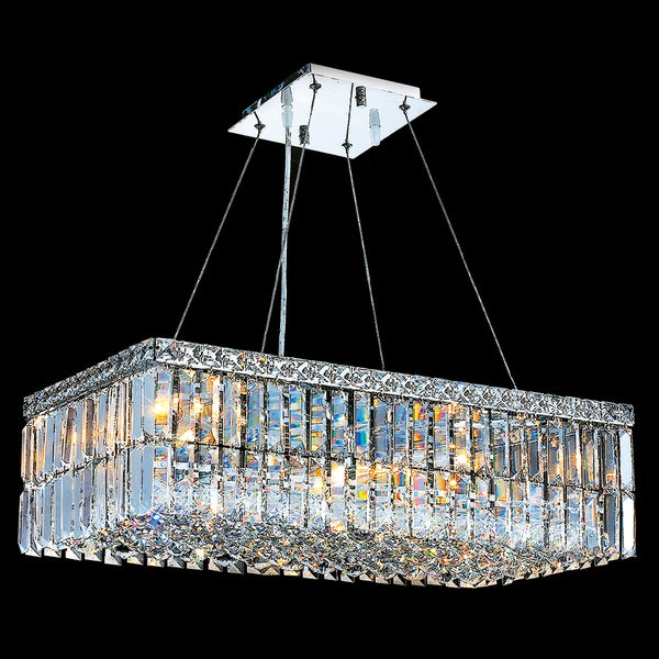 Modern Art Deco Style 6 Light Chrome Finish Clear Crystal Rectangle 24 Inch Chandelier On Free Shipping Today 10578272