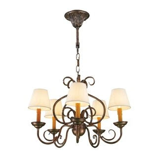 Rustic Elegance 5-light Antique Bronze Finish and Natural Shades 24 x 16-inch Candle Chandelier