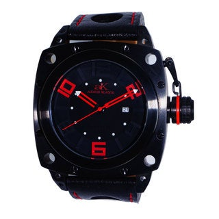 Adee Kaye Men's AK7271 Black/ Red Stainless Steel Watch