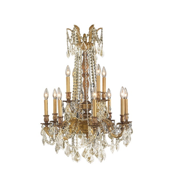 "Italian Elegance Collection 12 light French Gold Finish Crystal Ornate Chandelier 24"" x 36"" Two 2 Tier"