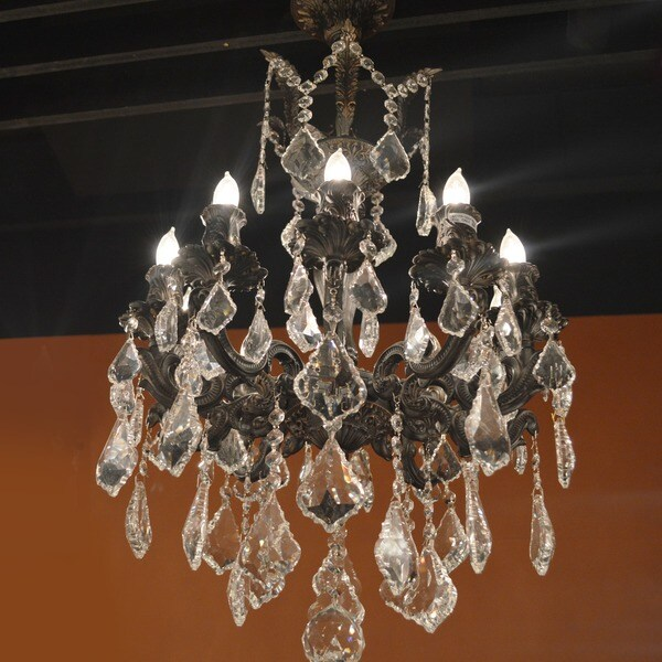 French Imperial Collection 10 Light Flemish Brass Finish and Clear Crystal Chandelier 16 x 23 - Gold