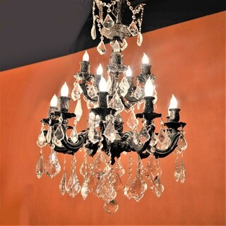 French Imperial Collection 15 Light Flemish Brass Finish and Clear Crystal Chandelier 21 x 32 Two