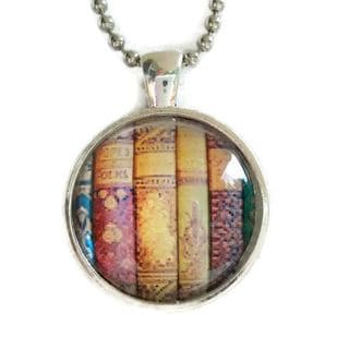 Atkinson Creations Shabby Books Glass Dome Necklace