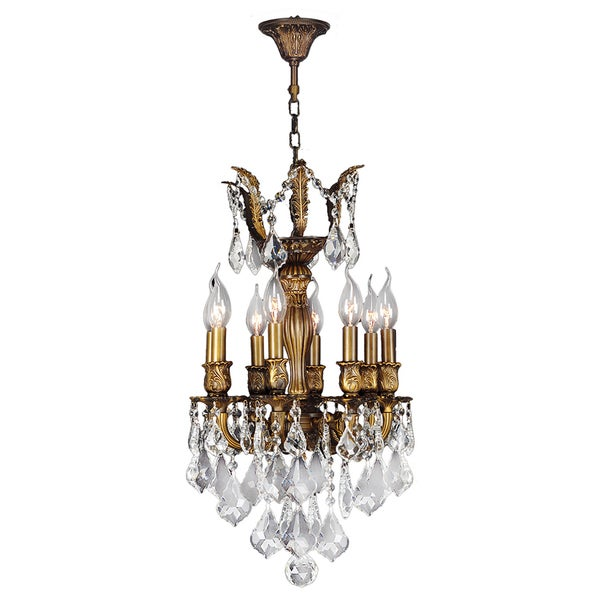 French Imperial Collection 6 Light Antique Bronze Finish Crystal 13 X 23 Inch Mini Chandelier