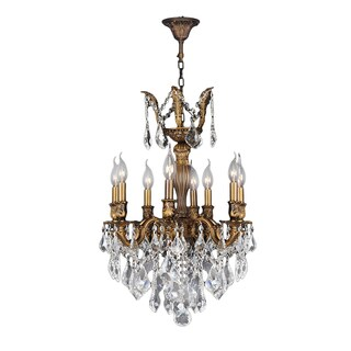 "French Imperial Collection 6 light French Gold Finish and Golden Teak Crystal Chandelier 19"" x 25"""