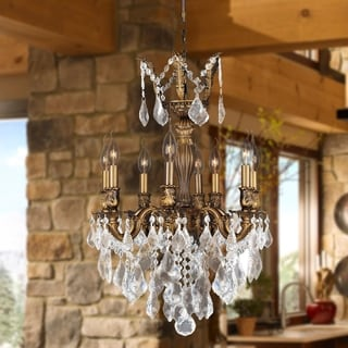 "French Imperial Collection 8 Light Antique Bronze Finish and Clear Crystal Chandelier 19"" x 25"""