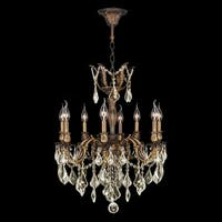 "French Imperial Collection 8 light Antique Bronze Finish and Golden Teak Crystal Chandelier 22"" x 26"